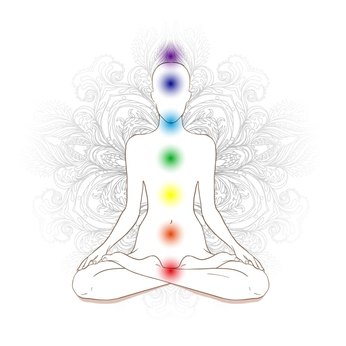 Chakras concept. Silhouette in lotus position over gray ornate m