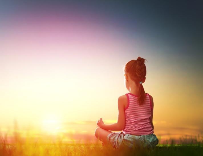 Girl is practicing yoga